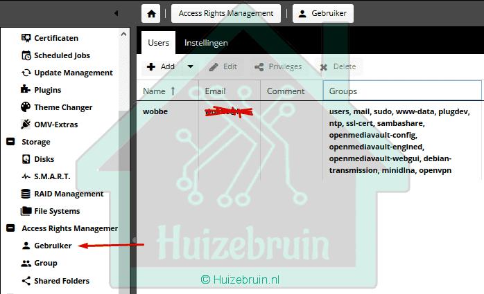 openmediavault gebruikers
