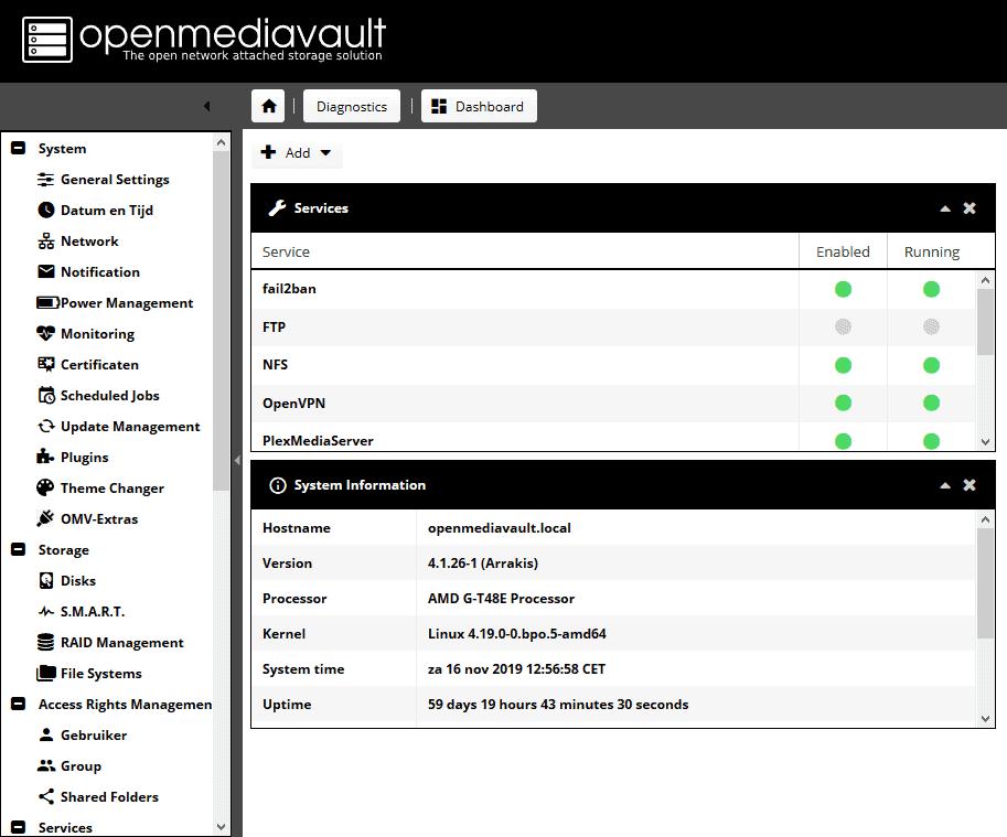 Je bekijkt nu Openmediavault extras installeren plus openvpn