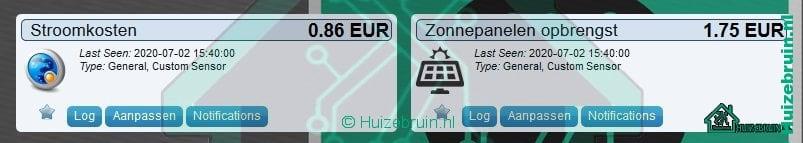 Dag energie kosten met behulp van dummy sensoren